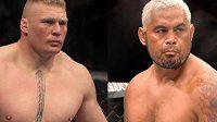 Brock Lesnar (vlevo) se vrátil do klece UFC, porazil Marka Hunta, ale jeho boj nebyl čistý. Teď pyká.