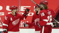 Obránce Detroitu Red Wings Filip Hronek (druhý zprava) oslavuje gól se spoluhráči v utkání NHL. Gratulují mu Luke Glendening (41) a Marc Staal (18).