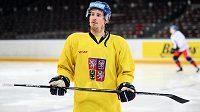 Roman Červenka během tréninku hokejové reprezentace.