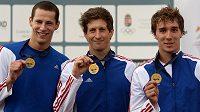 Čeští moderní pětibojaři získali na mistrovství Evropy v Székesfehérváru bronz v soutěži družstev. Zleva Ondřej Polívka, Martin Bilko a Jan Kuf.