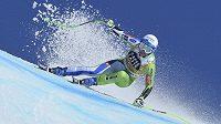 Slovinská lyžařka Ilka Štuhecová během sjezdu superobřího slalom Světového poháru v Crans Montaně.