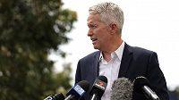 Ředitel tenisového Australian Open Craig Tiley odpovídá na dotazy novinářů.