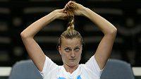 Petra Kvitová při tréninku před finále Fed Cupu ČR - Německo.
