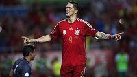 Fernando Torres oslavuje svůj gól z pokutového kopu v přípravě proti Bolívii, která se hrála na sevillském stadiónu Ramóna Sáncheze Pizjuana.