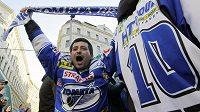 Na Náměstí Svobody v Brně byla velkoplošná projekce prvního finále hokejové extraligy