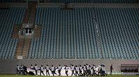 Prázdné tribuny v utkání fotbalové Ligy mistrů mezi CSKA Moskva a Bayernem Mnichov.