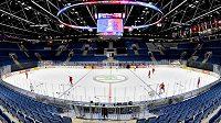 Zimní stadión Ondreje Nepely v Bratislavě den před začátkem světového šampionátu.
