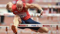 Petr Svoboda ve finále 60 m překážek během halového mistrovství v atletice dne 6. března 2015 v O2 Areně v Praze.