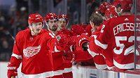 Gustav Nyquist (zcela vlevo) se se spoluhráči z Detroitu raduje z gólu v utkání NHL.