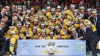 Týmové foto hokejových mistrů světa ze Švédska pro rok 2013.