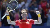 Španělský tenista Rafael Nadal slaví.
