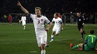 Matěj Vydra se raduje z gólu v utkání v Arménii