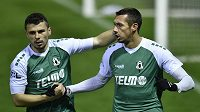 Zleva Vladimir Jovovič a střelec jabloneckého gólu Ivan Schranz.