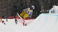 Česká snowboardistka Šárka Pančochová během tréninku na mistrovství světa v rakouském Kreischbergu.