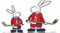 Králíci Bob a Bobek jsou maskoty hokejového MS v Praze.