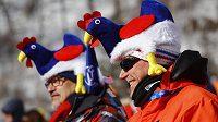 Tihle fanoušci přišli při olympijskému závodu v obřím slalomu povzbudit hlavně francouzské lyžaře.
