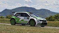 Vítězná posádka Rallye Hustopeče Jan Kopecký a Pavel Dresler s vozem Škoda Fabia R5.