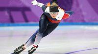 Česká rychlobruslařka Karolína Erbanová při tréninku před startem olympiády.