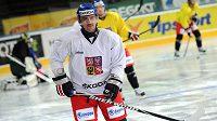 Nový kapitán hokejové reprezentace Tomáš Plekanec během tréninku před turnajem Channel One Cup.