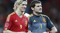 Útočník Fernando Torres (vlevo) a gólman Iker Casillas, opory španělské fotbalové reprezentace