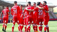 Radost fotbalistů Curicó Unido po výhře v ligovém utkání.