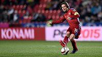 Zahrají si ve Francii i čeští fotbalisté? Na snímku kapitán reprezentace Tomáš Rosický při kvalifikaci s Lotyšskem.