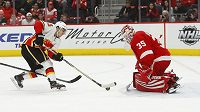 Johnny Gaudreau (13) z Calgary a detroitský brankář Jimmy Howard (35).