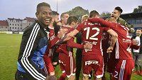 Fotbalisté Olomouce se radují z návratu do nejvyšší soutěže.