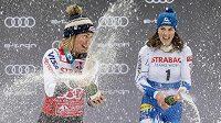 Takhle se slaví ve Špindlerově Mlýně. Na stupních vítězů oslavují zleva vítězka slalomu Mikaela Shiffrinová z USA a třetí Petra Vlhová ze Slovenska.