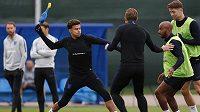 V rámci rozcvičky trenér Gareth Southgate naordinoval anglickému týmu cvičení s kohoutem.