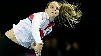 Karolína Plíšková při tréninku před finále Fed Cupu ve Štrasburku.