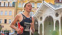 Triatlonistka Tereza Zimovjanová při Světovém poháru v Karlových Varech.