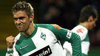 Někdejší chorvatský fotbalista Ivan Klasnič v dresu Werderu Brémy. Snímek pochází z roku 2006.