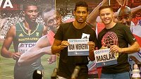 Jihoafrický sprinter Wayde van Niekerk a český sprinter Pavel Maslák před atletickým mítinkem Zlatá tretra.