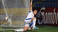 Liberecký útočník Michael Rabušic oslavuje gól proti Curychu.