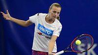 Petra Kvitová na tréninku v Praze před finále Fed Cupu s Ruskem.