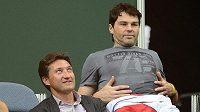Jaromír Jágr si užil fandění na finále Davis Cupu jen při sobotní čtyřhře. Dvouhry musel oželet kvůli hokejovým povinnostem.