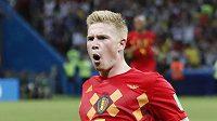 Belgičan Kevin de Bruyne se raduje. V zápase s Brazílií právě zvýšil na 2:0.
