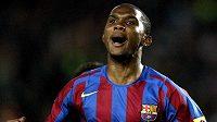 Kamerunský útočník Samuel Eto'o ještě v dresu Barcelony.