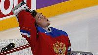 Ruský brankář Andrej Vasilevskij udržel ve čtvrtfinále MS v utkání s českým týmem čisté konto.