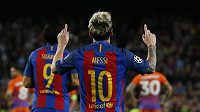 Hvězdný Lionel Messi se raduje ze třetího gólu proti Manchesteru City.