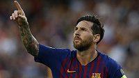 Barcelonský Lionel Messi se raduje z gólu proti Eindhovenu.