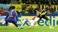 Hrdinou Borussie Dortmund byl po utkání se Slavií gólman Roman Bürki.