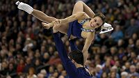 Kanadská sportovní dvojice Meagan Duhamelová a Eric Radford na MS v Bostonu.