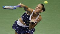Karolína Plíšková v akci během čtvrtfinále US Open.
