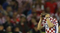 Chorvatská hvězda Luka Modrič po porážce s Portugalskem.