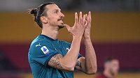 Kanonýr AC Milán Zlatan Ibrahimovic v nedělním utkání italské ligy proti AS Řím.