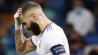 Zklamaný útočník Realu Madrid Karim Benzema.