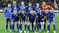 Tým Kosova před utkáním s Ázerbájdžánem.
