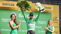 Peter Sagan v zeleném dresu pro vedoucího muže bodovací soutěže Tour de France.